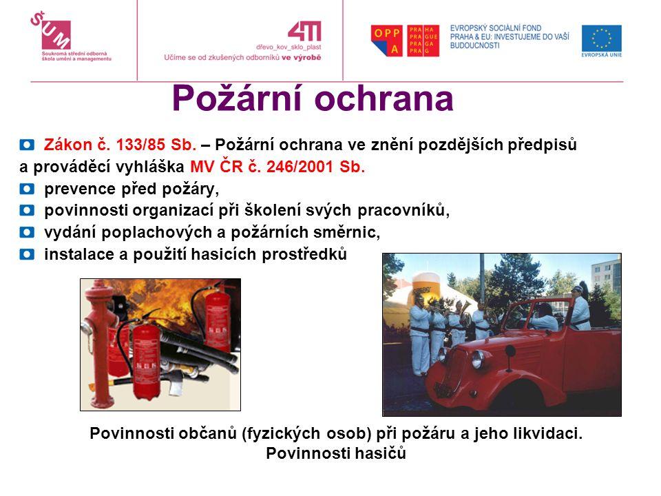Požární ochrana Zákon č. 133/85 Sb.