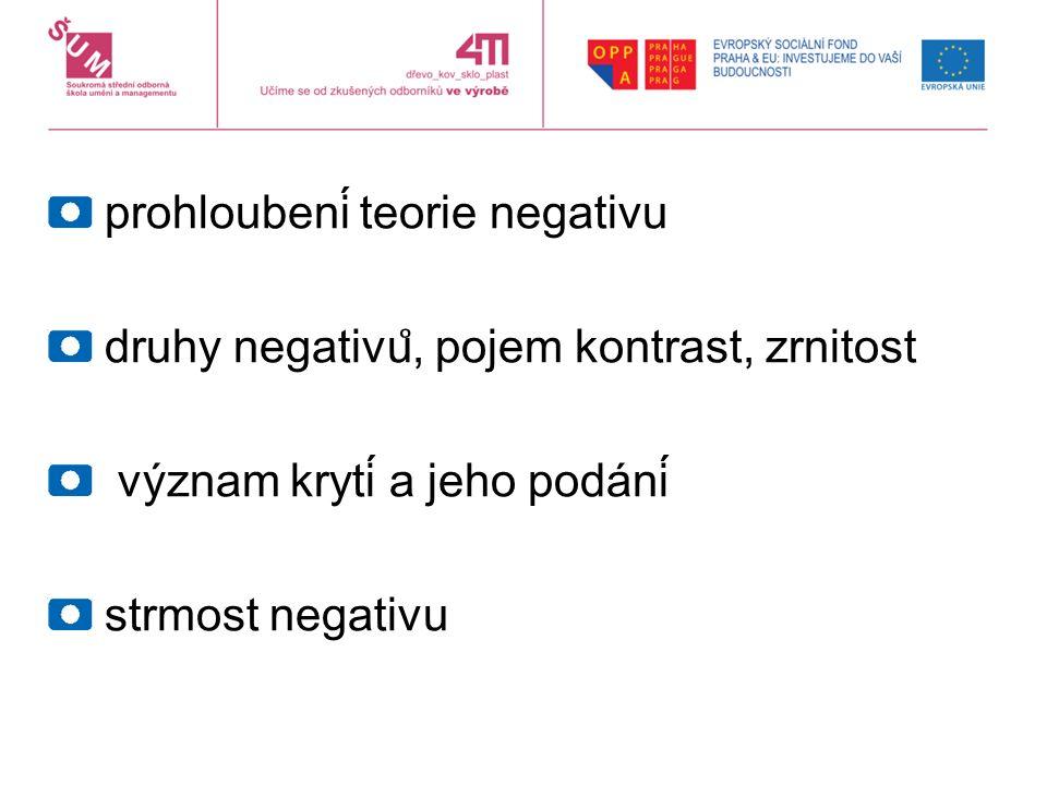prohloubení teorie negativu druhy negativu ̊, pojem kontrast, zrnitost význam krytí a jeho podání strmost negativu