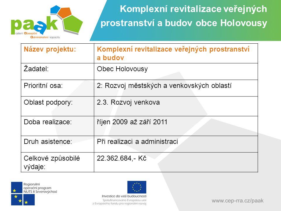 Název projektu:Komplexní revitalizace veřejných prostranství a budov Žadatel:Obec Holovousy Prioritní osa:2: Rozvoj městských a venkovských oblastí Oblast podpory:2.3.