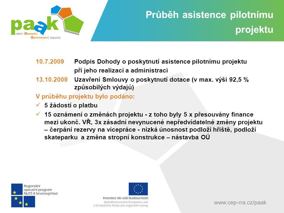 Průběh asistence pilotnímu projektu 10.7.2009 Podpis Dohody o poskytnutí asistence pilotnímu projektu při jeho realizaci a administraci 13.10.2009Uzavření Smlouvy o poskytnutí dotace (v max.