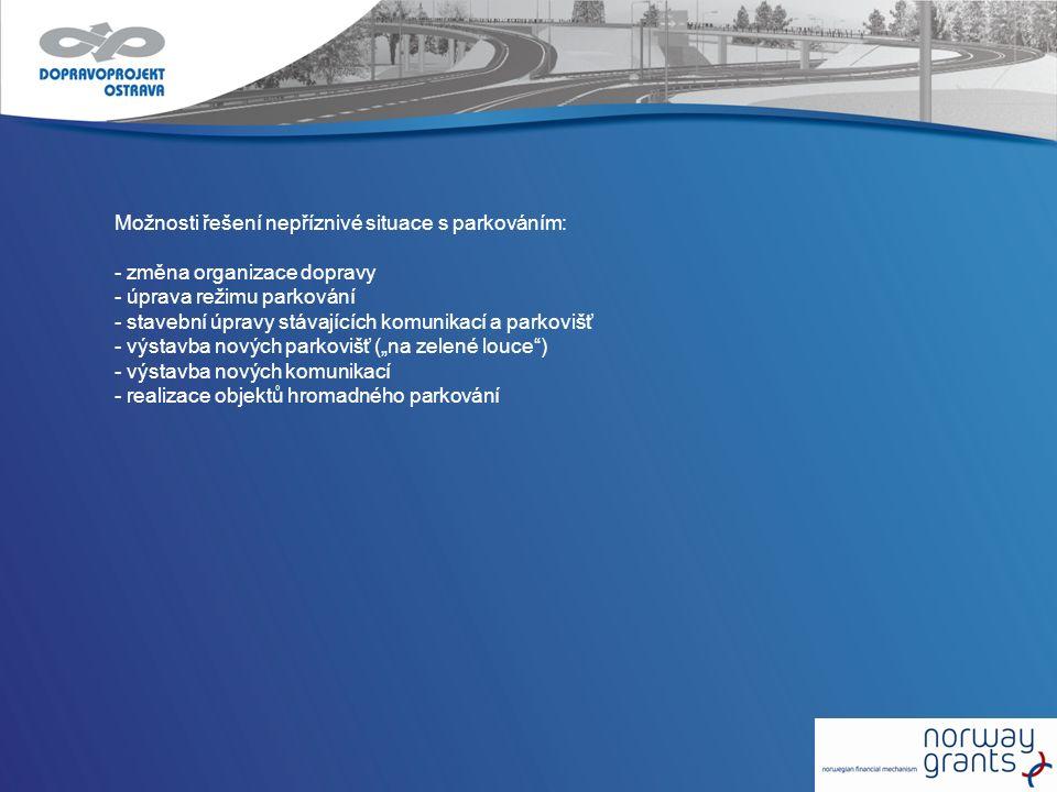 Možnosti řešení nepříznivé situace s parkováním: - změna organizace dopravy - úprava režimu parkování - stavební úpravy stávajících komunikací a parko