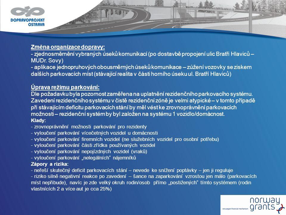 Změna organizace dopravy: - zjednosměrnění vybraných úseků komunikací (po dostavbě propojení ulic Bratři Hlaviců – MUDr. Sovy) - aplikace jednopruhový