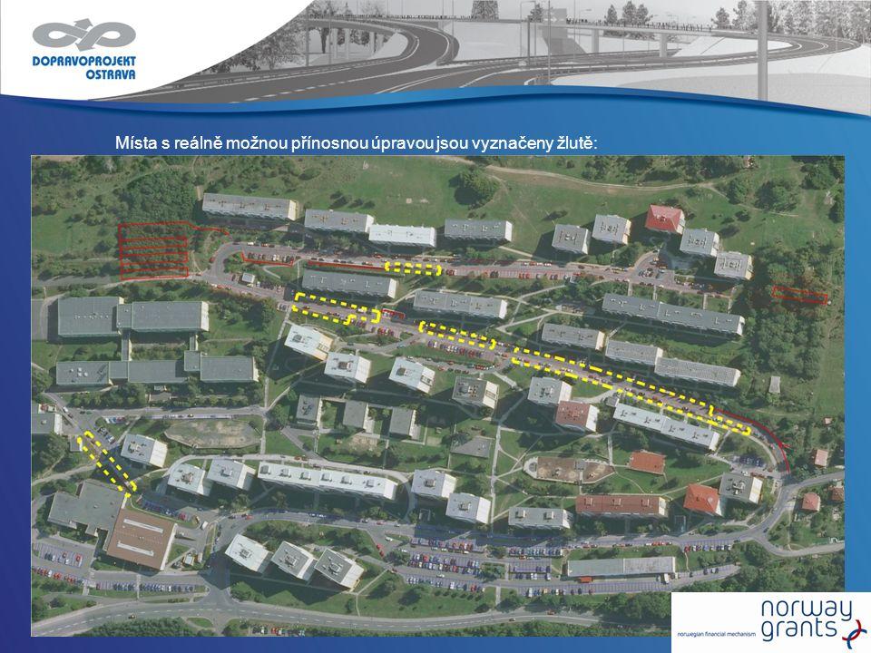 Místa s reálně možnou přínosnou úpravou jsou vyznačeny žlutě: