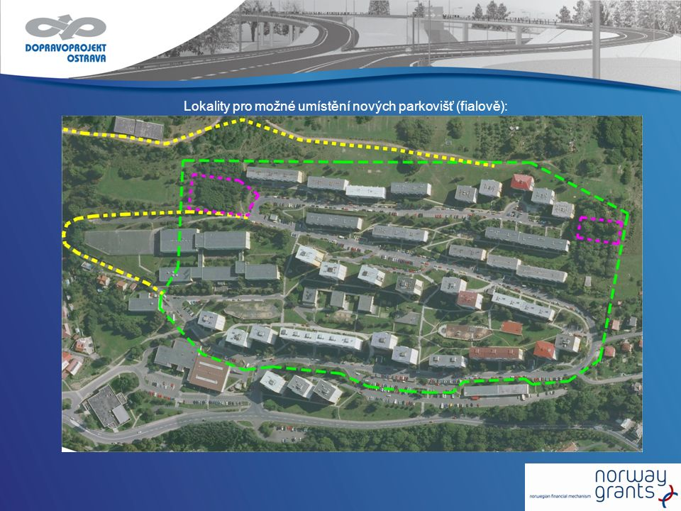 Lokality pro možné umístění nových parkovišť (fialově):