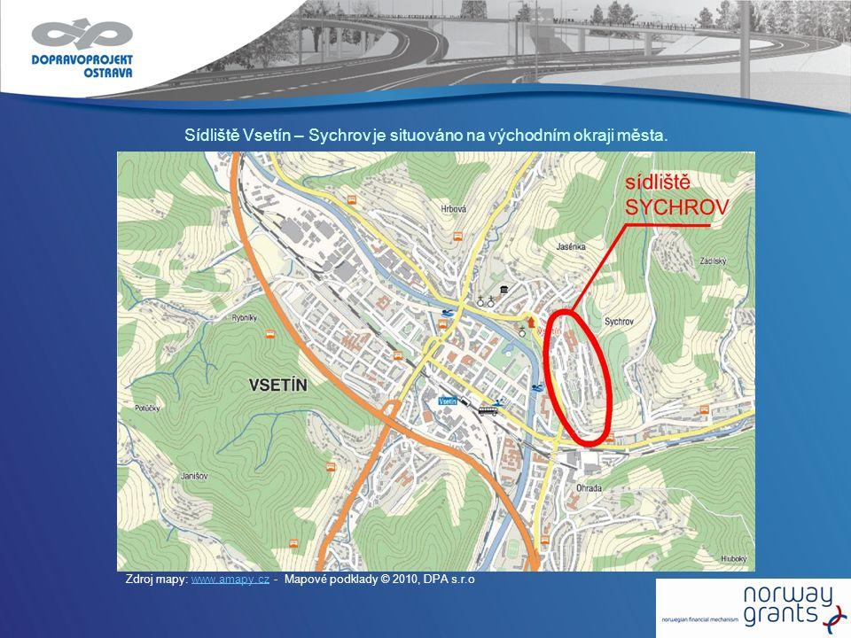 Sídliště Vsetín – Sychrov je situováno na východním okraji města. Zdroj mapy: www.amapy.cz - Mapové podklady © 2010, DPA s.r.owww.amapy.cz