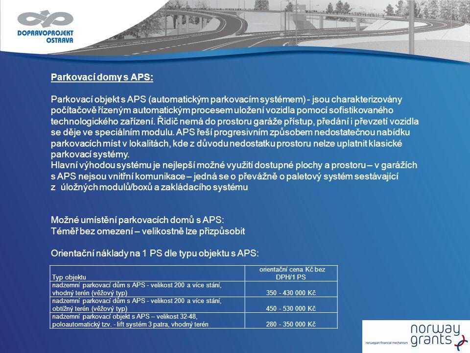 Parkovací domy s APS: Parkovací objekt s APS (automatickým parkovacím systémem) - jsou charakterizovány počítačově řízeným automatickým procesem ulože