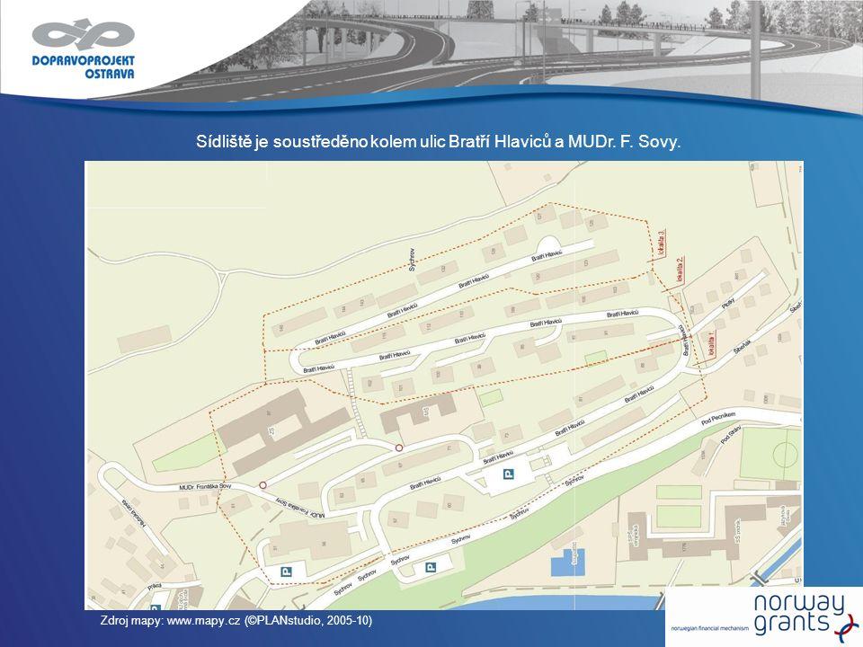 Sídliště je soustředěno kolem ulic Bratří Hlaviců a MUDr. F. Sovy. Zdroj mapy: www.mapy.cz (©PLANstudio, 2005-10)
