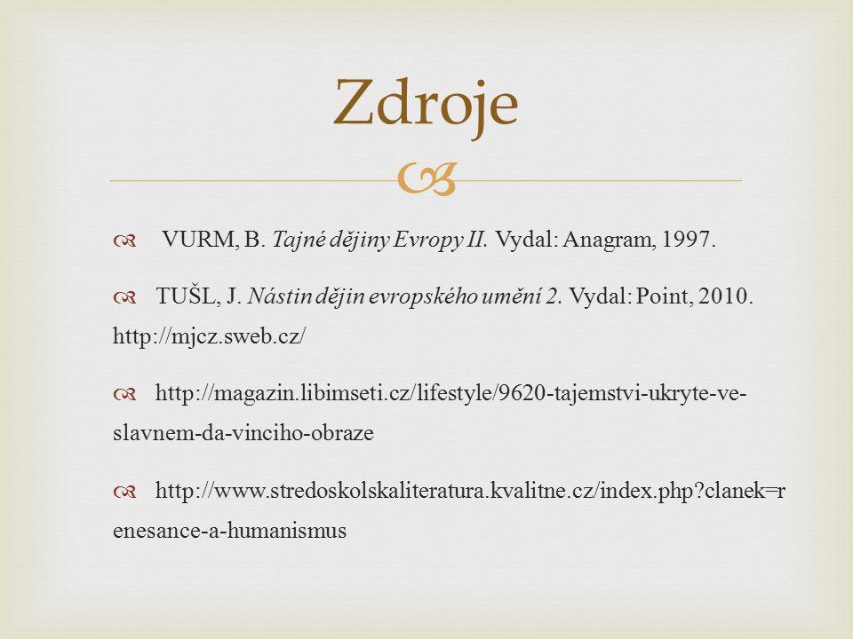   VURM, B. Tajné dějiny Evropy II. Vydal: Anagram, 1997.