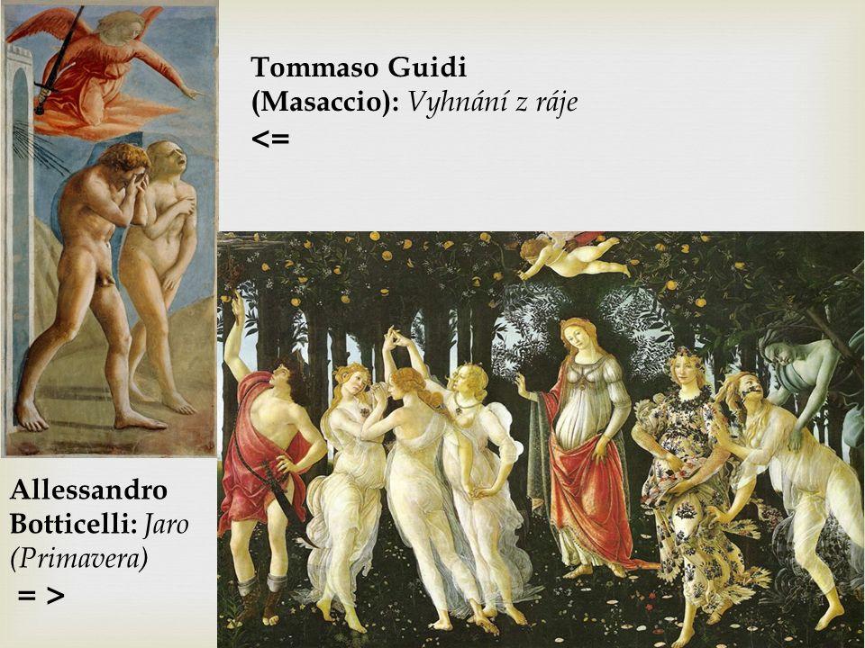 Allessandro Botticelli: Jaro (Primavera) = > Tommaso Guidi (Masaccio): Vyhnání z ráje <=