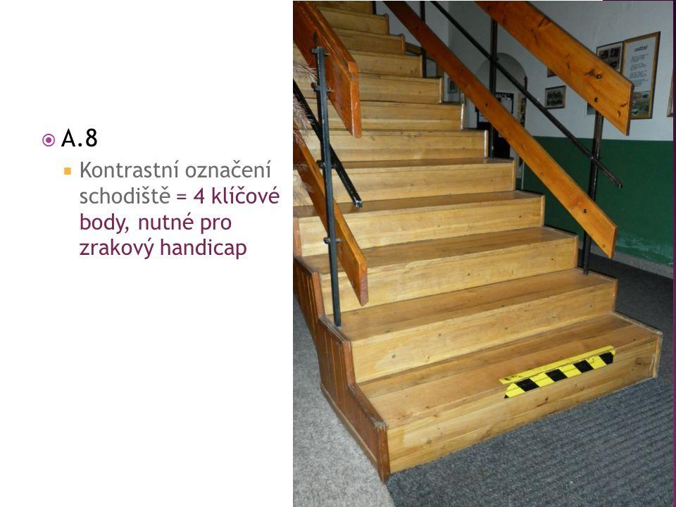  A.8  Kontrastní označení schodiště = 4 klíčové body, nutné pro zrakový handicap
