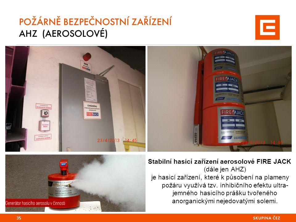 POŽÁRNĚ BEZPEČNOSTNÍ ZAŘÍZENÍ AHZ (AEROSOLOVÉ) Stabilní hasicí zařízení aerosolové FIRE JACK (dále jen AHZ) je hasicí zařízení, které k působení na plameny požáru využívá tzv.