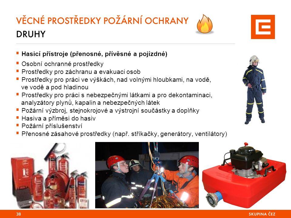 VĚCNÉ PROSTŘEDKY POŽÁRNÍ OCHRANY DRUHY  Hasicí přístroje (přenosné, přívěsné a pojízdné)  Osobní ochranné prostředky  Prostředky pro záchranu a evakuaci osob  Prostředky pro práci ve výškách, nad volnými hloubkami, na vodě, ve vodě a pod hladinou  Prostředky pro práci s nebezpečnými látkami a pro dekontaminaci, analyzátory plynů, kapalin a nebezpečných látek  Požární výzbroj, stejnokrojové a výstrojní součástky a doplňky  Hasiva a příměsi do hasiv  Požární příslušenství  Přenosné zásahové prostředky (např.