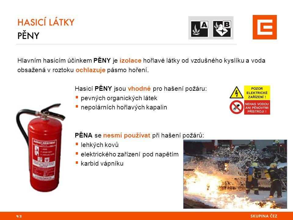 HASICÍ LÁTKY PĚNY Hlavním hasicím účinkem PĚNY je izolace hořlavé látky od vzdušného kyslíku a voda obsažená v roztoku ochlazuje pásmo hoření.