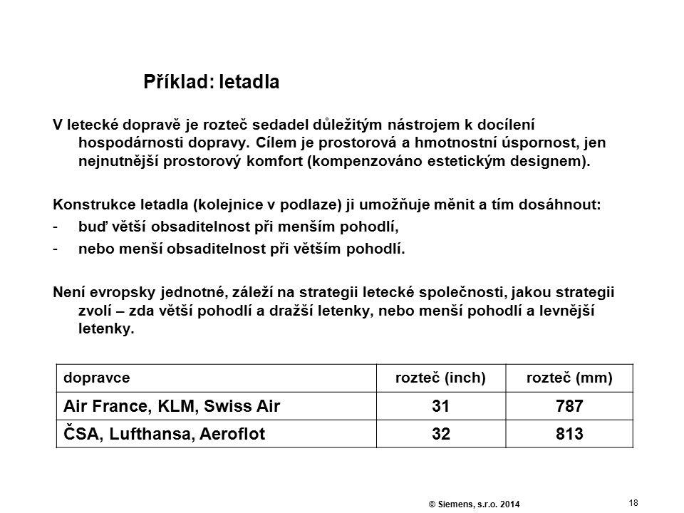 18 © Siemens, s.r.o. 2014 Příklad: letadla V letecké dopravě je rozteč sedadel důležitým nástrojem k docílení hospodárnosti dopravy. Cílem je prostoro