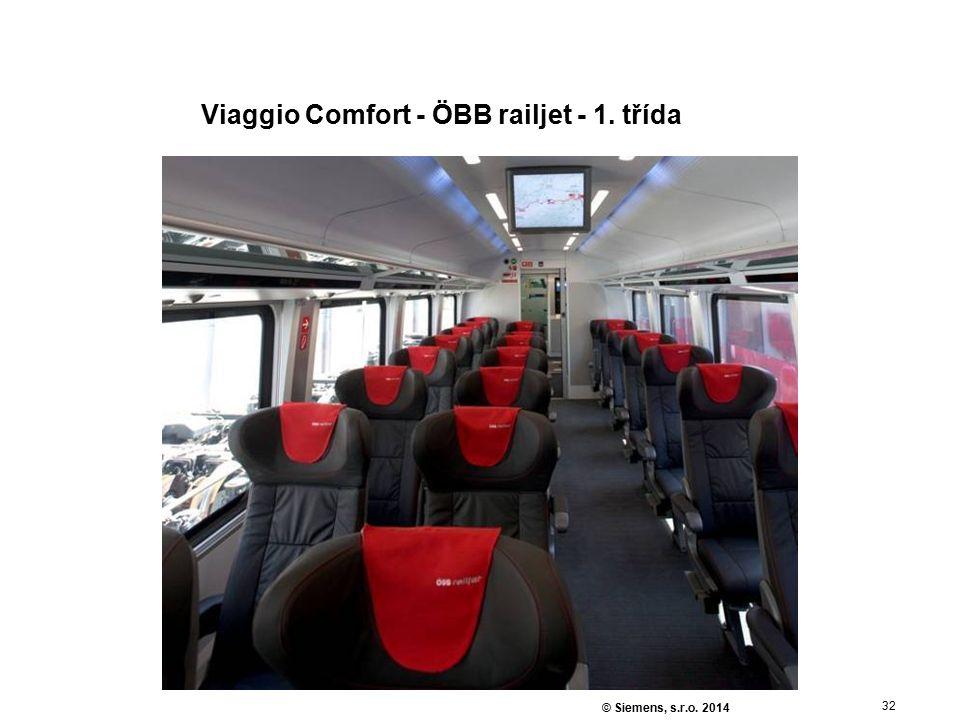 32 © Siemens, s.r.o. 2014 Viaggio Comfort - ÖBB railjet - 1. třída