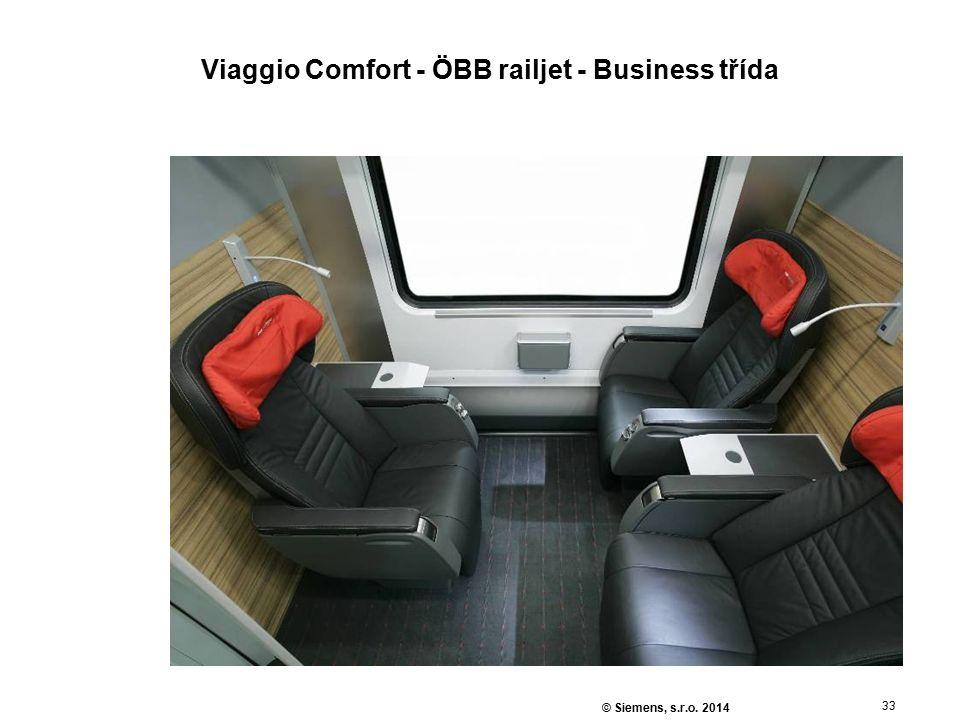 33 © Siemens, s.r.o. 2014 Viaggio Comfort - ÖBB railjet - Business třída