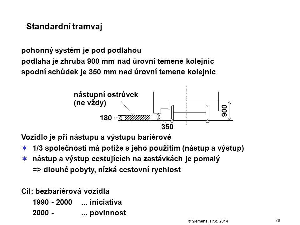 36 © Siemens, s.r.o. 2014 Standardní tramvaj pohonný systém je pod podlahou podlaha je zhruba 900 mm nad úrovní temene kolejnic spodní schůdek je 350