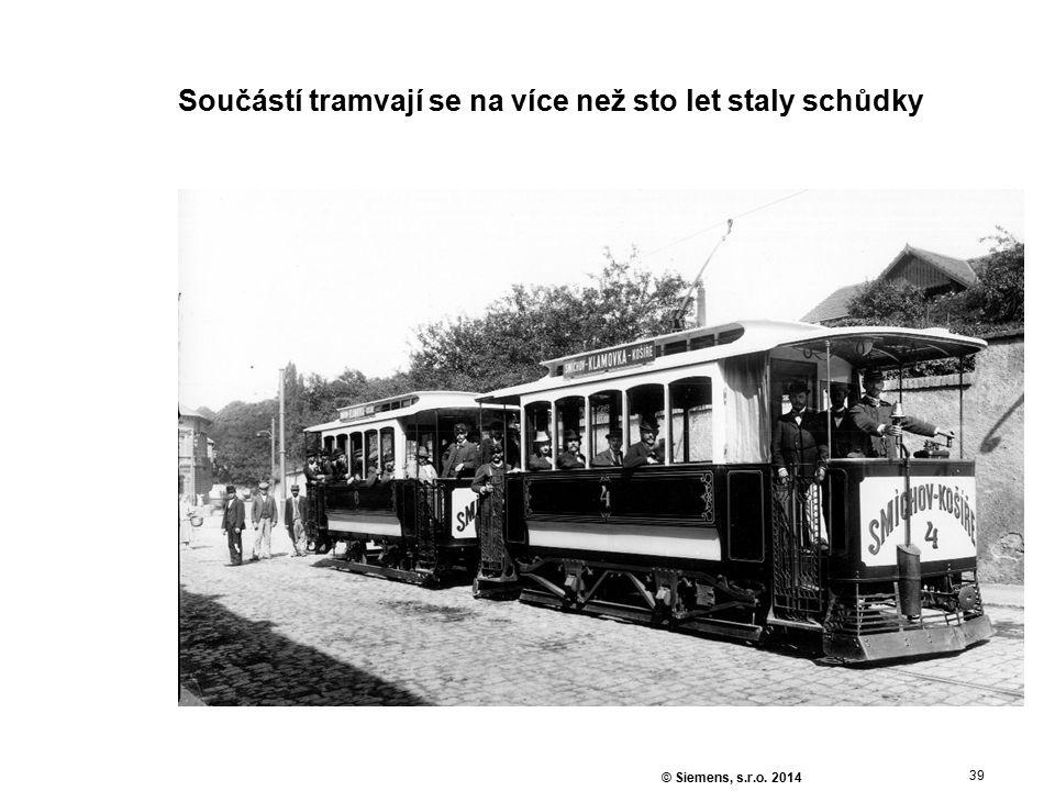 39 © Siemens, s.r.o. 2014 Součástí tramvají se na více než sto let staly schůdky
