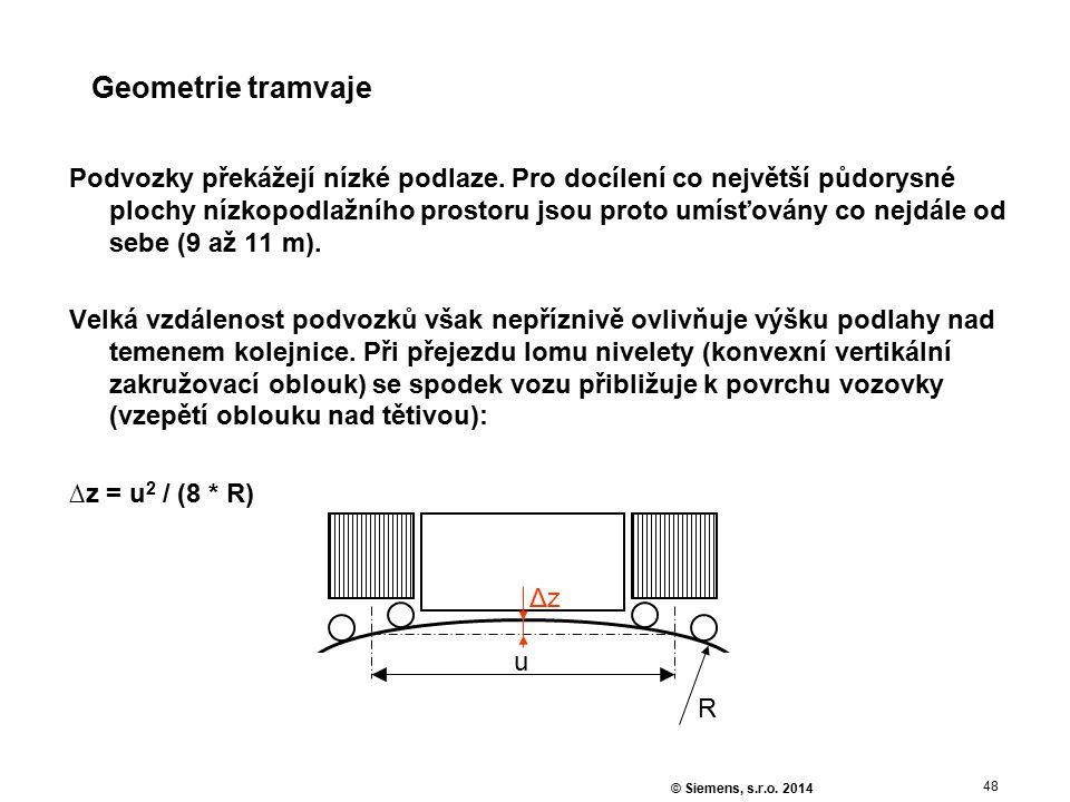 48 © Siemens, s.r.o. 2014 Geometrie tramvaje Podvozky překážejí nízké podlaze. Pro docílení co největší půdorysné plochy nízkopodlažního prostoru jsou