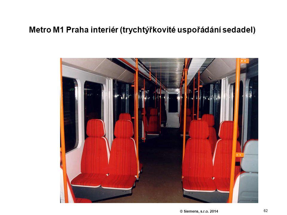 62 © Siemens, s.r.o. 2014 Metro M1 Praha interiér (trychtýřkovité uspořádání sedadel)