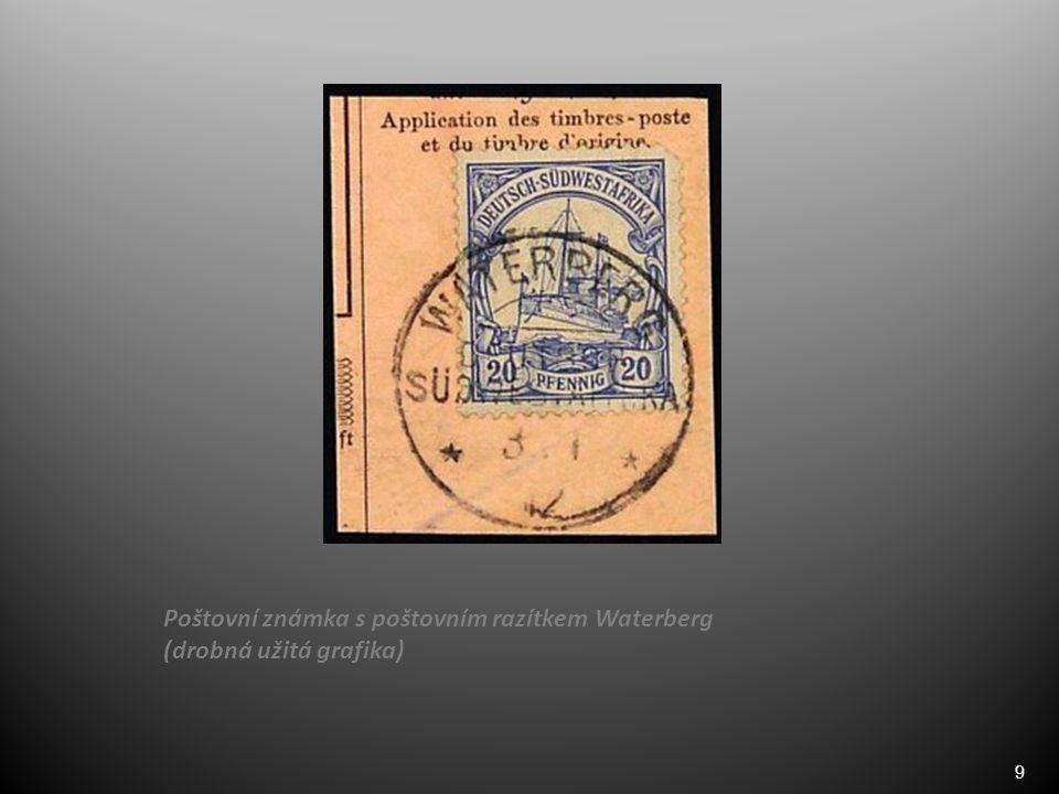 9 Poštovní známka s poštovním razítkem Waterberg (drobná užitá grafika)