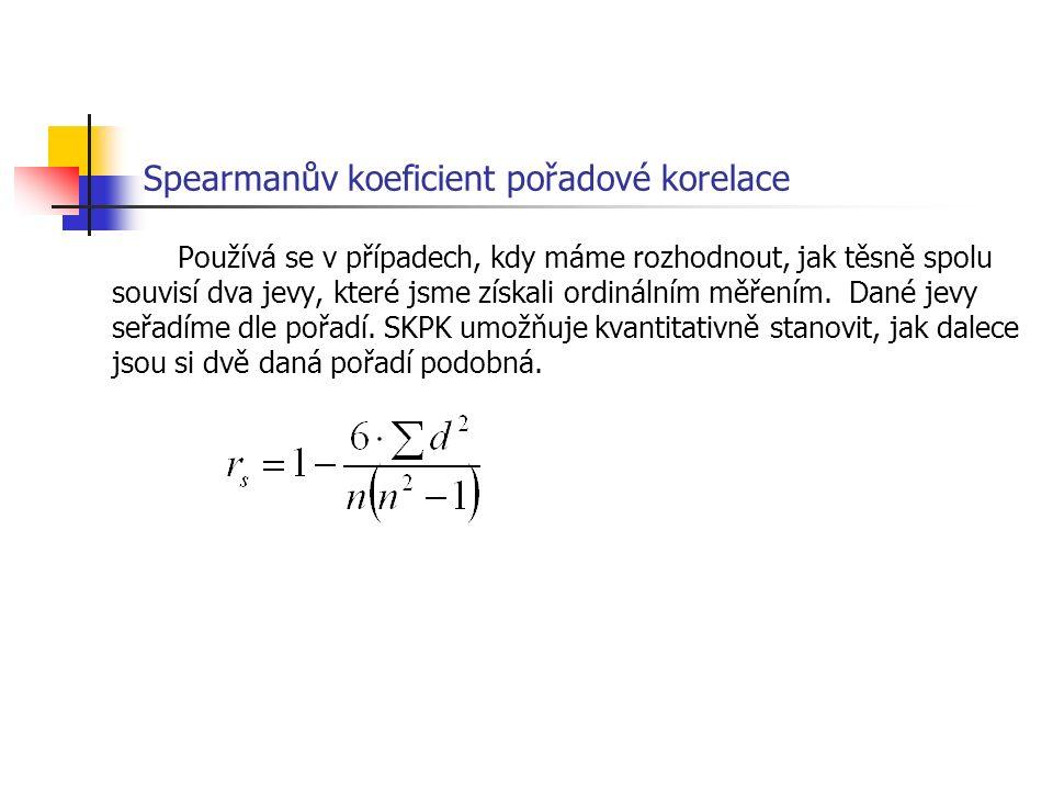 Spearmanův koeficient pořadové korelace Používá se v případech, kdy máme rozhodnout, jak těsně spolu souvisí dva jevy, které jsme získali ordinálním měřením.