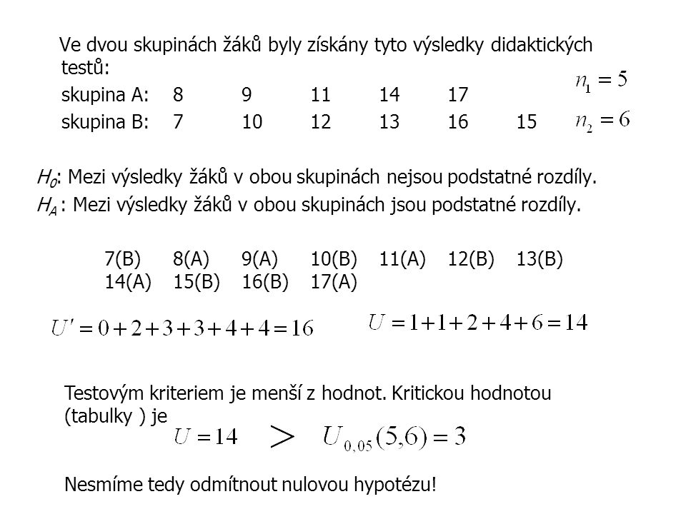 Ve dvou skupinách žáků byly získány tyto výsledky didaktických testů: skupina A:89111417 skupina B: 71012131615 H 0 : Mezi výsledky žáků v obou skupinách nejsou podstatné rozdíly.