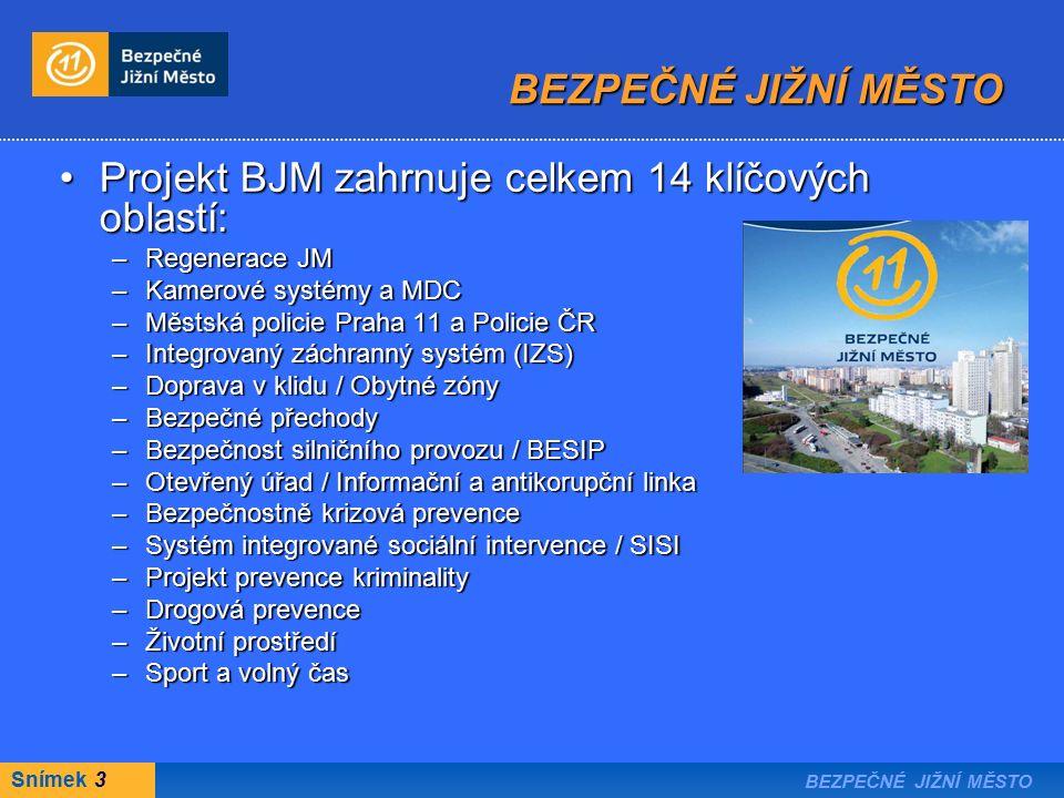 Snímek 3 BEZPEČNÉ JIŽNÍ MĚSTO Projekt BJM zahrnuje celkem 14 klíčových oblastí:Projekt BJM zahrnuje celkem 14 klíčových oblastí: –Regenerace JM –Kamerové systémy a MDC –Městská policie Praha 11 a Policie ČR –Integrovaný záchranný systém (IZS) –Doprava v klidu / Obytné zóny –Bezpečné přechody –Bezpečnost silničního provozu / BESIP –Otevřený úřad / Informační a antikorupční linka –Bezpečnostně krizová prevence –Systém integrované sociální intervence / SISI –Projekt prevence kriminality –Drogová prevence –Životní prostředí –Sport a volný čas BEZPEČNÉ JIŽNÍ MĚSTO