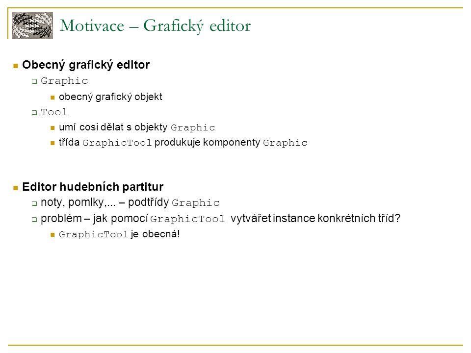 Motivace – Grafický editor Obecný grafický editor  Graphic obecný grafický objekt  Tool umí cosi dělat s objekty Graphic třída GraphicTool produkuje komponenty Graphic Editor hudebních partitur  noty, pomlky,...