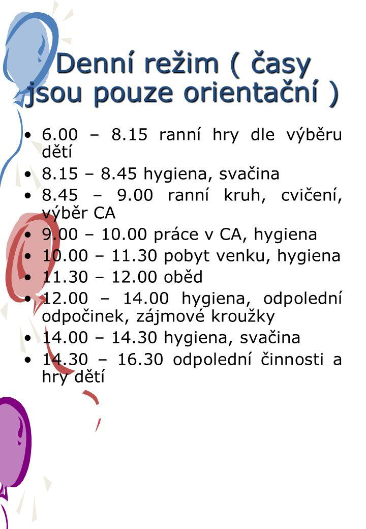 Denní režim ( časy jsou pouze orientační ) 6.00 – 8.15 ranní hry dle výběru dětí 8.15 – 8.45 hygiena, svačina 8.45 – 9.00 ranní kruh, cvičení, výběr CA 9.00 – 10.00 práce v CA, hygiena 10.00 – 11.30 pobyt venku, hygiena 11.30 – 12.00 oběd 12.00 – 14.00 hygiena, odpolední odpočinek, zájmové kroužky 14.00 – 14.30 hygiena, svačina 14.30 – 16.30 odpolední činnosti a hry dětí