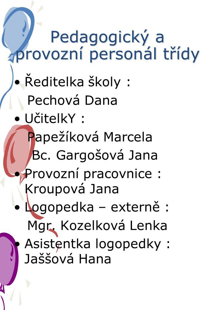 Pedagogický a provozní personál třídy Ředitelka školy : Pechová Dana UčitelkY : Papežíková Marcela Bc.