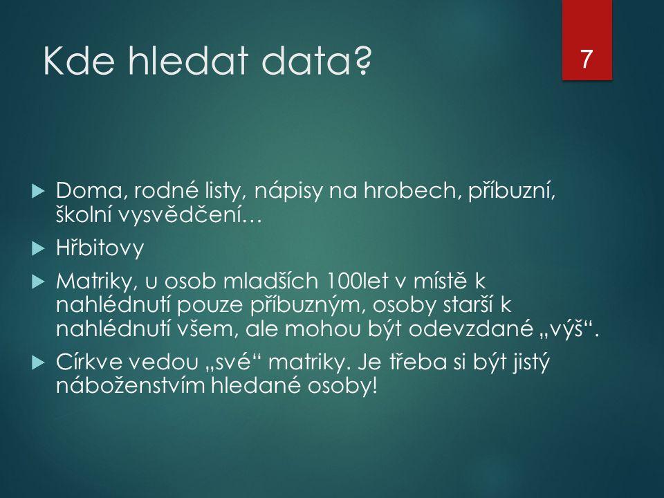 Kde hledat data.