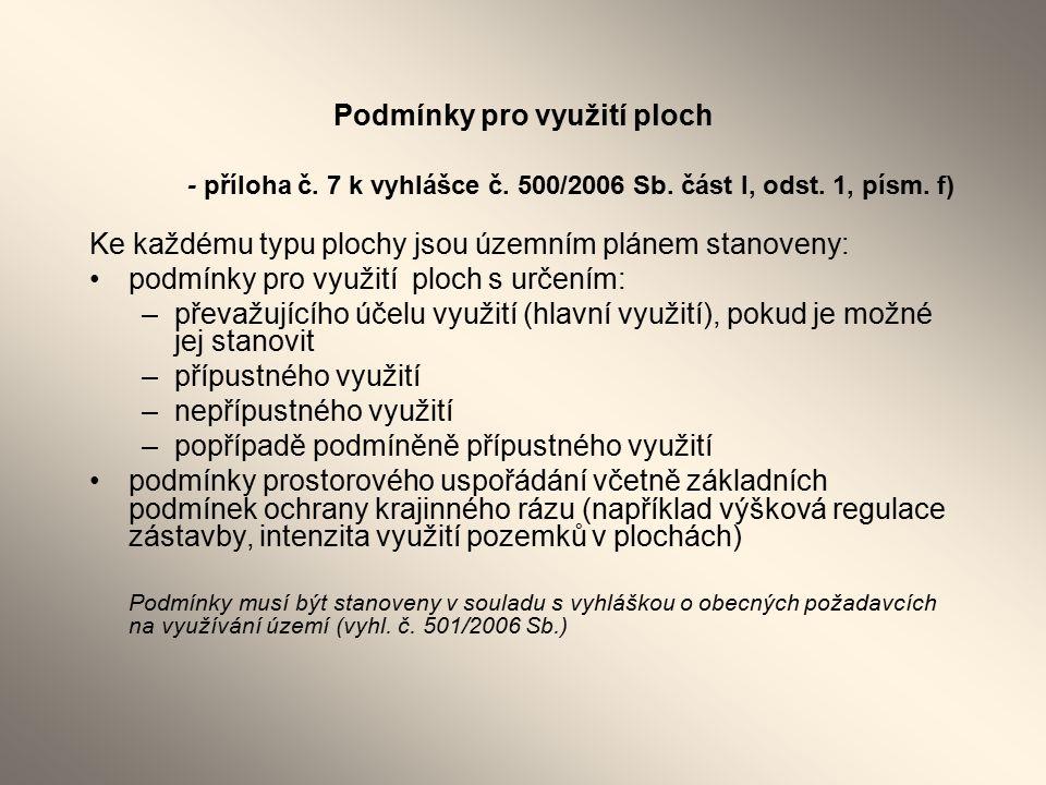 Podmínky pro využití ploch - příloha č. 7 k vyhlášce č.