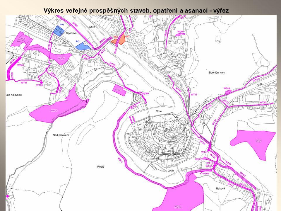 Výkres veřejně prospěšných staveb, opatření a asanací - výřez