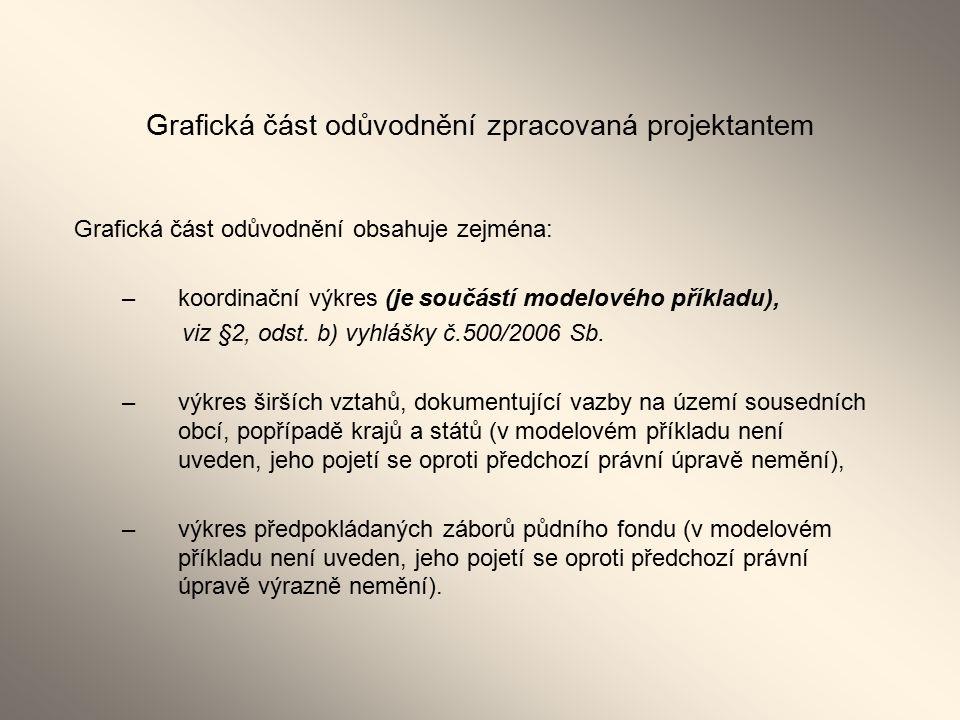 Grafická část odůvodnění zpracovaná projektantem Grafická část odůvodnění obsahuje zejména: –koordinační výkres (je součástí modelového příkladu), viz §2, odst.