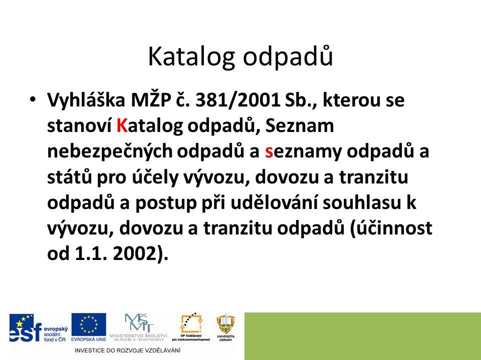 Katalog odpadů Vyhláška MŽP č. 381/2001 Sb., kterou se stanoví Katalog odpadů, Seznam nebezpečných odpadů a seznamy odpadů a států pro účely vývozu, d