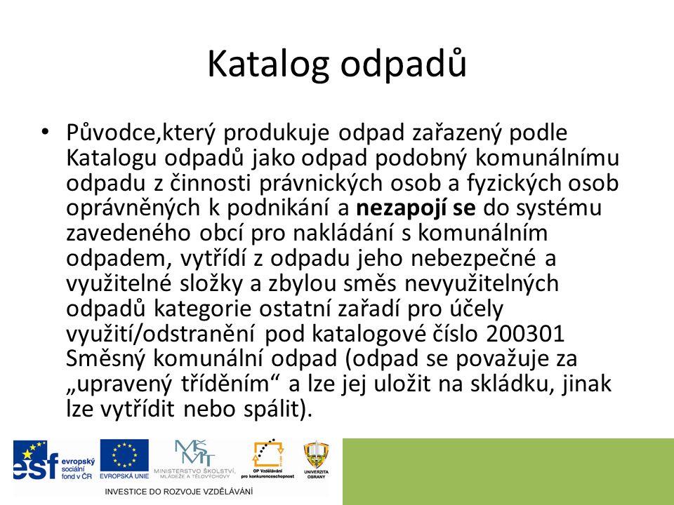 Katalog odpadů Původce,který produkuje odpad zařazený podle Katalogu odpadů jako odpad podobný komunálnímu odpadu z činnosti právnických osob a fyzick