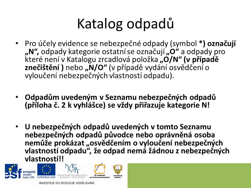 """Katalog odpadů Pro účely evidence se nebezpečné odpady (symbol *) označují """"N"""", odpady kategorie ostatní se označují """"O"""" a odpady pro které není v Kat"""