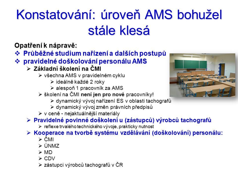 Konstatování: úroveň AMS bohužel stále klesá Opatření k nápravě:  Průběžné studium nařízení a dalších postupů  pravidelné doškolování personálu AMS