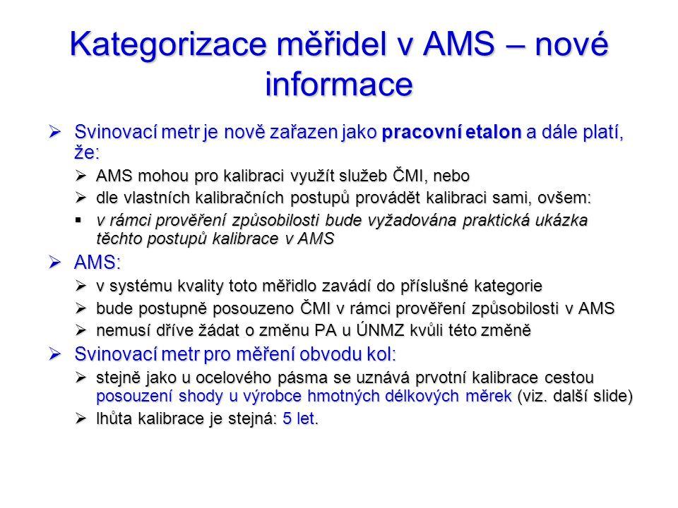 Kategorizace měřidel v AMS – nové informace  Svinovací metr je nově zařazen jako pracovní etalon a dále platí, že:  AMS mohou pro kalibraci využít s