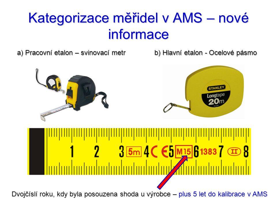 Kategorizace měřidel v AMS – nové informace b) Hlavní etalon - Ocelové pásmo a) Pracovní etalon – svinovací metr Dvojčíslí roku, kdy byla posouzena sh