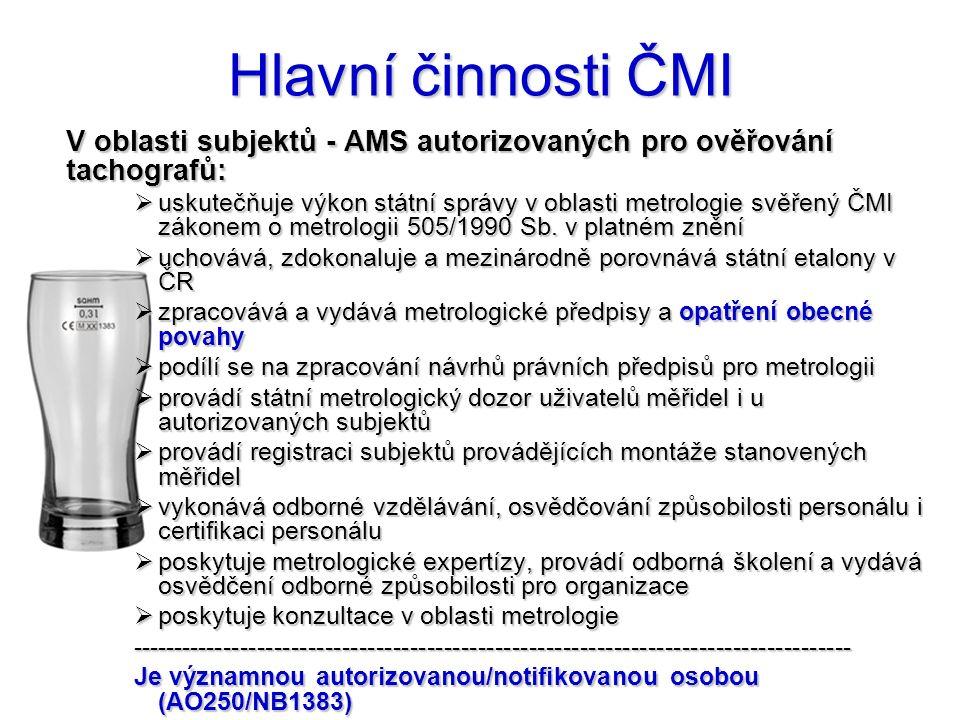 ČMI a způsobilost AMS  Služby ČMI v oblasti způsobilosti AMS:  systém managementu - respektující právní, systémové a technické předpisy, normy a dokumenty  služba ČMI = poradenství, distribuce předpisů a dokumentů  kvalifikace personálu - doložena Osvědčeními, certifikáty  služba ČMI = vzdělávání, přezkušování, osvědčování, certifikace  způsobilost zařízení  služba ČMI = kalibrace etalonů, ověřování stanovených měřidel  postup zkoušení pro ověření  služba ČMI = tvorba a distribuce postupů (TPM, OOP)  Prokázání způsobilosti v uvedených oblastech je objektivně nezbytné pro delegaci výkonu státní správy (t.