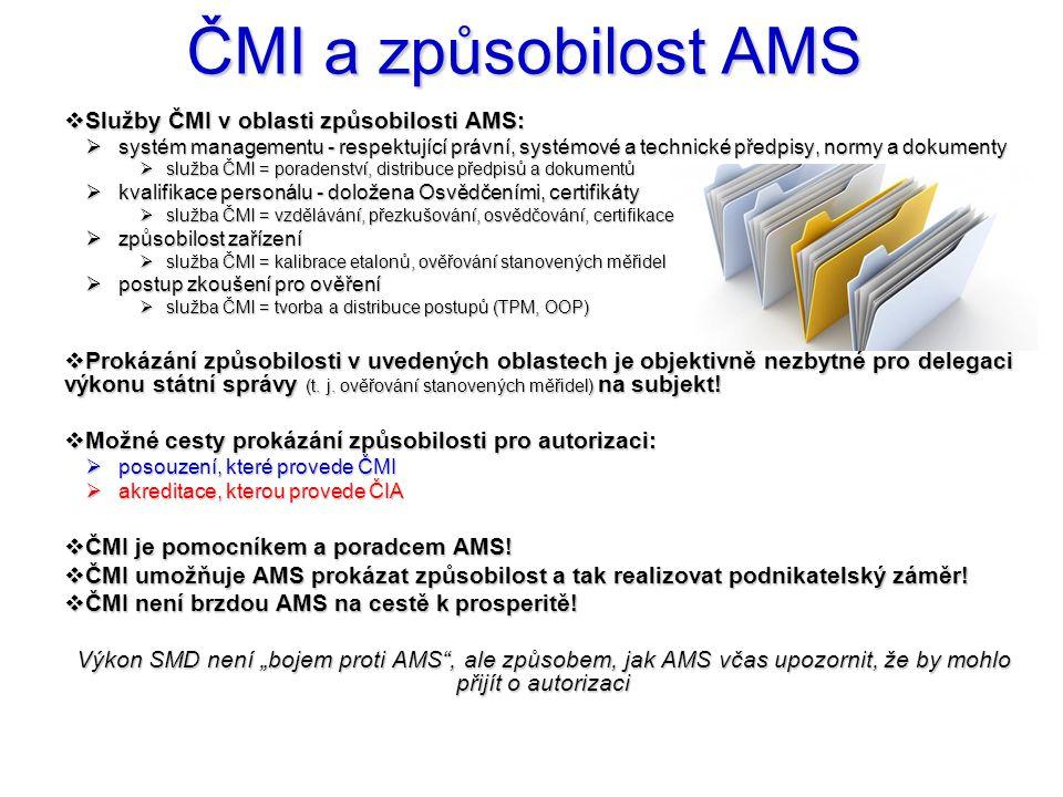 ČMI a způsobilost AMS  Služby ČMI v oblasti způsobilosti AMS:  systém managementu - respektující právní, systémové a technické předpisy, normy a dok
