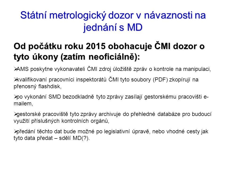 Státní metrologický dozor v návaznosti na jednání s MD Od počátku roku 2015 obohacuje ČMI dozor o tyto úkony (zatím neoficiálně):  AMS poskytne vykon