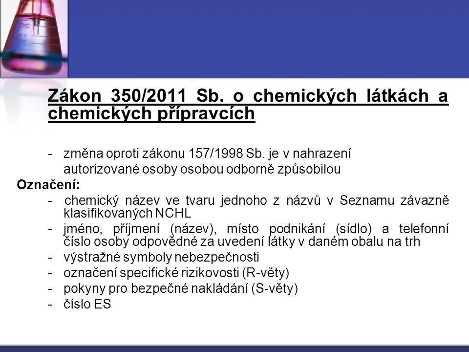 Zákon 350/2011 Sb. o chemických látkách a chemických přípravcích - změna oproti zákonu 157/1998 Sb. je v nahrazení autorizované osoby osobou odborně z