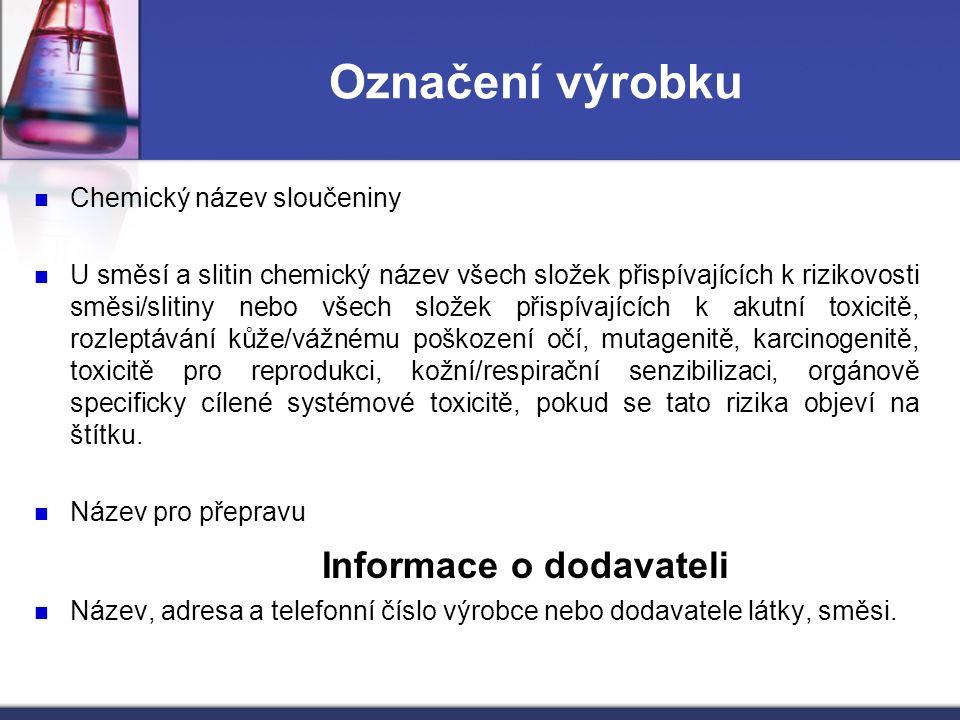 Označení výrobku Chemický název sloučeniny U směsí a slitin chemický název všech složek přispívajících k rizikovosti směsi/slitiny nebo všech složek p