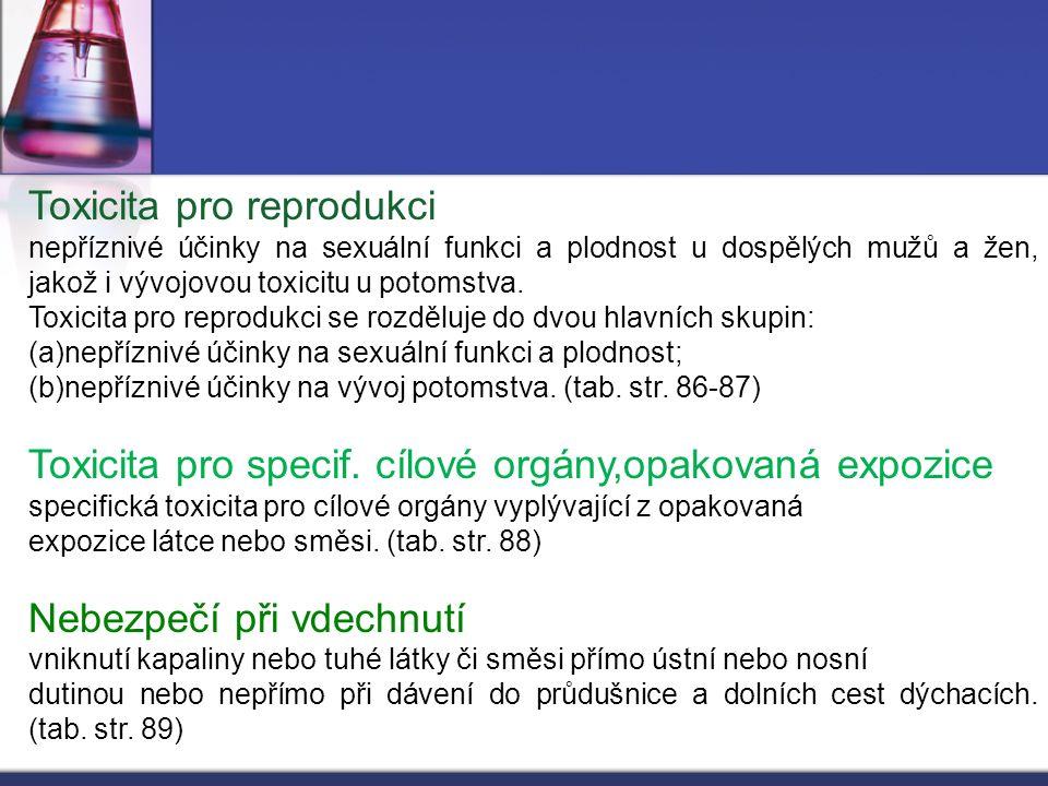 Toxicita pro reprodukci nepříznivé účinky na sexuální funkci a plodnost u dospělých mužů a žen, jakož i vývojovou toxicitu u potomstva. Toxicita pro r