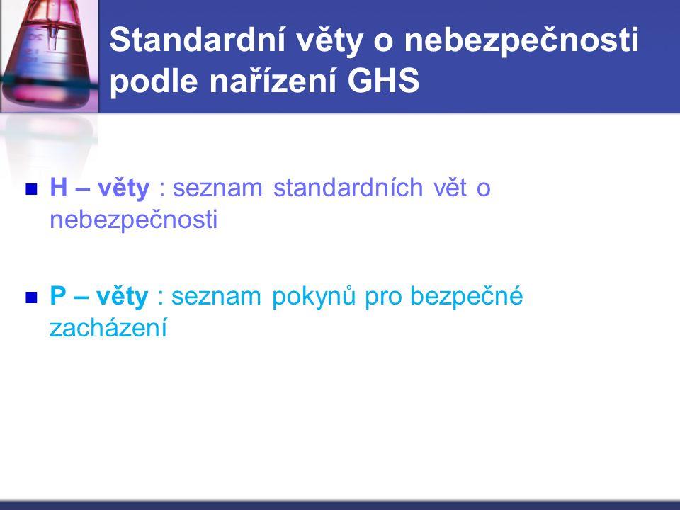 Standardní věty o nebezpečnosti podle nařízení GHS H – věty : seznam standardních vět o nebezpečnosti P – věty : seznam pokynů pro bezpečné zacházení