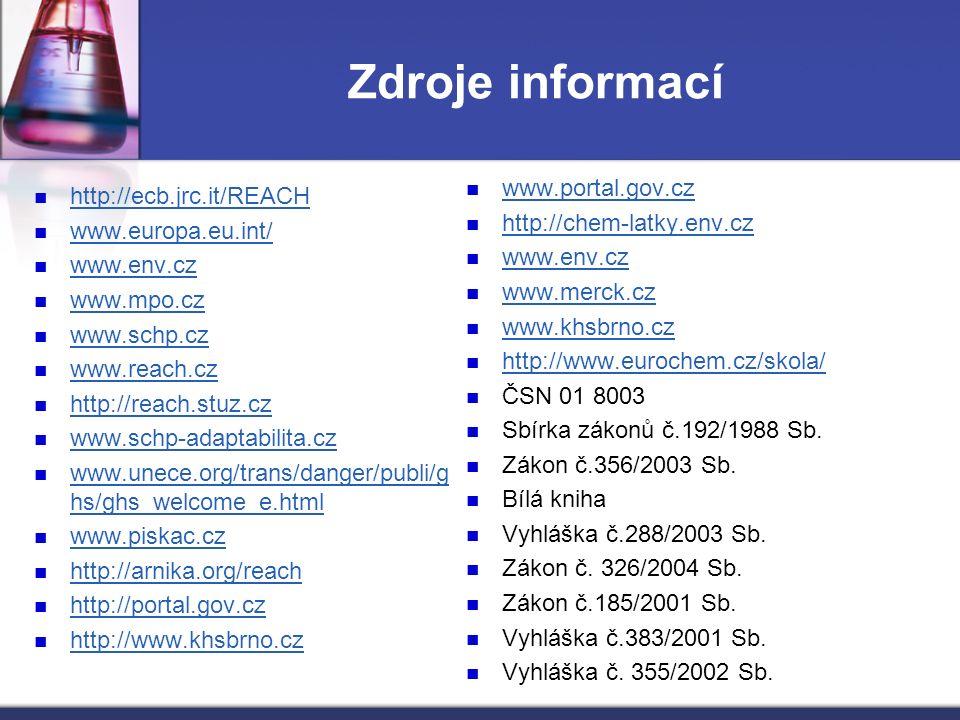 Zdroje informací http://ecb.jrc.it/REACH www.europa.eu.int/ www.env.cz www.mpo.cz www.schp.cz www.reach.cz http://reach.stuz.cz www.schp-adaptabilita.cz www.unece.org/trans/danger/publi/g hs/ghs_welcome_e.html www.unece.org/trans/danger/publi/g hs/ghs_welcome_e.html www.piskac.cz http://arnika.org/reach http://portal.gov.cz http://www.khsbrno.cz www.portal.gov.cz http://chem-latky.env.cz www.env.cz www.merck.cz www.khsbrno.cz http://www.eurochem.cz/skola/ ČSN 01 8003 Sbírka zákonů č.192/1988 Sb.