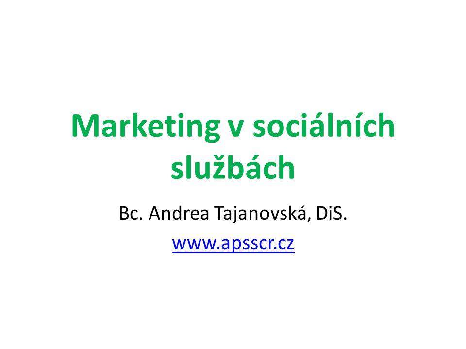 Marketing v sociálních službách Bc. Andrea Tajanovská, DiS. www.apsscr.cz